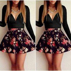 Cute V Neck Black Long Sleeve Dress