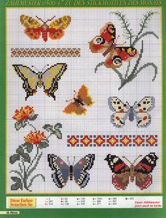 ♥Meus Gráficos De Ponto Cruz♥: Borboletas e Monograma em Ponto Cruz Cross stitch pattern butterfly insect victorian