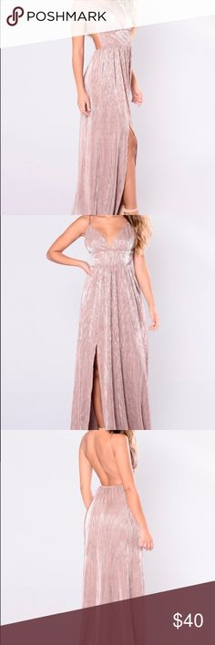 Mocha Pleated Satin Maxi Dress Mocha color Pleated Satin Maxi Dress Open Back & Adjustable Straps Fashion Nova Dresses Maxi