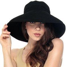 b0b8c9d1da2 Simplicity Women s Cotton Summer Beach Hat with Wide Fold-Up Brim