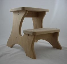 Extra Deep Step Stool, Wooden, Wood, Alder, Unfinished, Tip-resistant Stepstools…