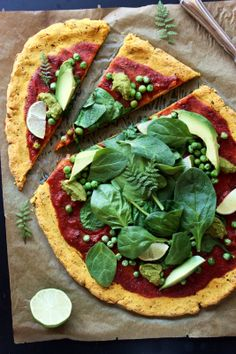 GREEN SPRING SQUASH PIZZA! vegan & glutenfree