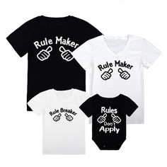 Rule Maker Print T-shirts for Family Father Son Matching Shirts, Matching Family Outfits, Baby Outfits Newborn, Family Shirts, Latest Fashion For Women, 6 Years, Street Style Women, Boutique Clothing, Printed Shirts