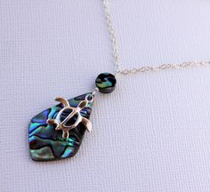 Abalone Shell Necklace, Honu Necklace, Hawaiian Shell Necklace, Paua Necklace, Honu Charm, Abalone Pendant Necklace, Gifts for Her, Abalone by fortheloveofplumeria on Etsy