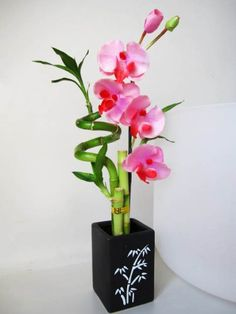 Live Spiral 3 Style Lucky Bamboo Plant Arrangement with Orchid... lucky bamboo and orchids are my favorite... I just looove them!!!