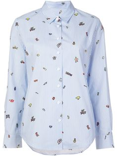 MIRA MIKATI Striped Icon Print Button Down Shirt