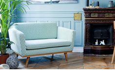 Canapé 120 cm en chêne massif et en tissu coton bakou couleur Celadon