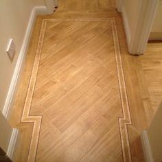 Amtico Bespoke Wood Border Karndean Flooring, Hall Flooring, Vinyl Plank Flooring, Living Room Flooring, Parquet Flooring, Hardwood Floors, Flooring Ideas, Wood Floor Pattern, Wood Floor Design