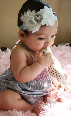 Baby headband...White rosette rhinestone flower's on aqua headband,  baby headband, baby girl hedband, newborn. $7.95, via Etsy.