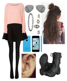 """""""Untitled #445"""" by tristen-elmer on Polyvore featuring Free People, Wolford, Neil Barrett, Glamorous and Ray-Ban"""