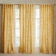 Mid-Century Cotton Canvas Etched Grid Curtain - Horseradish #westelm
