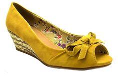 08f5b23a403 I want these shoes!!! Savannah Womens L6056 Mustard Yellow Wedge Heel Peep  Toe Sandals.
