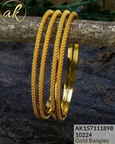 Gold Jewelry Design In India Plain Gold Bangles, Gold Bangles Design, Gold Earrings Designs, Jewelry Design, Necklace Designs, Gold Bangle Bracelet, Diamond Bangle, Bangle Set, Diamond Jewelry
