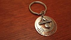 """Hand stamped basketball coach's key chain with saying. """"lead, inspire, coach"""""""