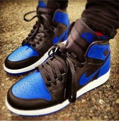 Blue & black nike shoes