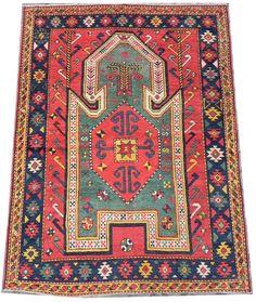 An Extremely Rare Antique Caucasian Sewan Kazak Prayer Rug, 51x66 inches