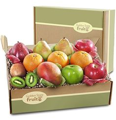 Two imperial comice Pears (or two d'anjou pears), one crimson red pear Two brae burn apples, one granny smith apple Exotic mango and kiwis Golden State Fruit Deluxe Collection Fruit Gift Box