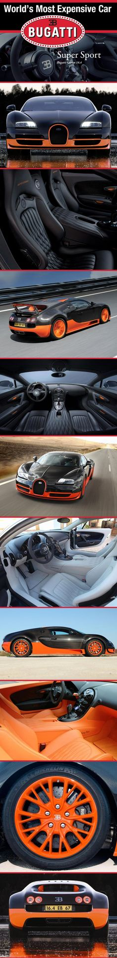 Bugatti Veyron Super Sports --- the most horsepower, the fastest top speed and acceleration -- and -- most expensive .:. .:. image credit:  http://www.worldsmostexpensivecar.com/bugatti-veyron-super-sport/