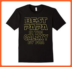 Mens BEST PAPA IN THE GALAXY FUN BIRTHDAY DAD FATHER'S T-SHIRT Medium Black - Birthday shirts (*Partner-Link)