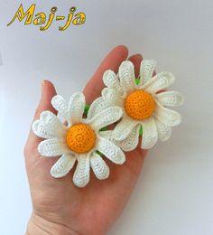 Set of Two ScrunchyScrunchy with flowers by MajjaCrochet on Etsy