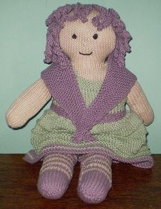 Raggy Doll-This pattern is available as a free Ravelry download. A traditional rag doll, complete with a set of removable clothes. Her name comes from her 'raggy' hair which is made up of knitted fringes sewn on to the head.