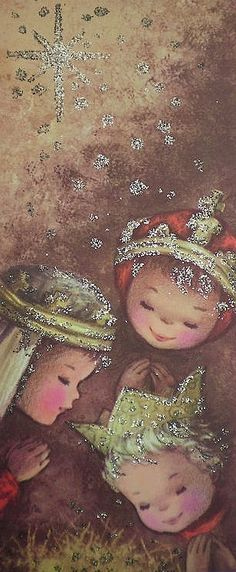Vintage Christmas card with children portraying the Three Kings.