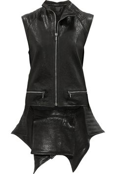 Haider Ackermann Quilted tail Leather Vest in Black