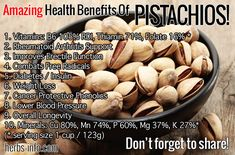 The common edible pistachio and other Pistacia species have a surprising track record in traditional medicine for a very wide range of benefits! Yummy Snacks, Healthy Snacks, Healthy Eating, Healthy Recipes, Diet Recipes, Clean Eating, Pistachio Health Benefits, Under 100 Calories, Cancer Fighting Foods