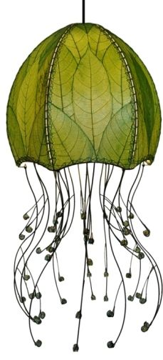 """Cocoa Leaf Light Green Leaves, Hanging Jellyfish Pendant Lantern With 1 Light, Plug In Or Direct Wire 525: 15""""x15""""x35"""""""