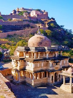 Kumbhalgarh Fort, Rajastan, India  is a Mewar fortress on the westerly range of Aravalli Hills, near Udaipur.  This fort is majorly known as 'The Great Wall of India' the second largest continuous wall in the world. The above picture is of the Lord Shiva temple in its premises with the Great Wall in the background.