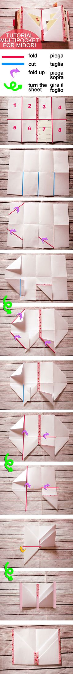 Lucy-Wonderland: tutorial_multipocket for midori or flexdori – Origami World Mini Albums, Papier Diy, Karten Diy, Handmade Books, Book Journal, Nature Journal, Journal Ideas, Book Binding, Smash Book