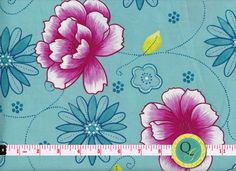 Designer Fabric By the Yard Pink Aqua Fabric by QuiltingGarden, $7.49