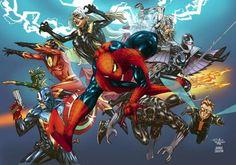 Spider-Man con algunos de los personajes del Universo Marvel