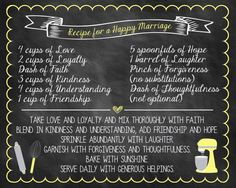 Printable Bridal Shower Recipe for a Happy Marriage by ChalkingItUpBoards