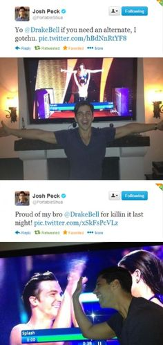 Josh Peck is the best person ever... Watch his vines and you will laugh forever.