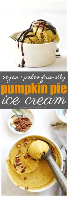 This vegan pumpkin ice cream is made with natural ingredients like coconut milk and maple syrup. It's such a delicious fall treat! #pumpkin #veganicecream #vegan