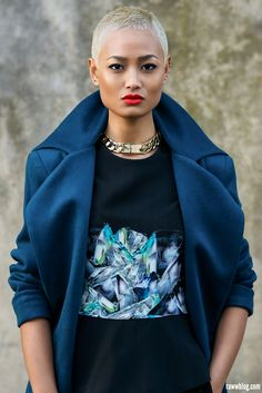 navy wool and red lips