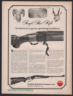 "1968 RUGER No. 1 Single-shot Rifle AD ""Return to a great sporting tradition"" #Ruger"
