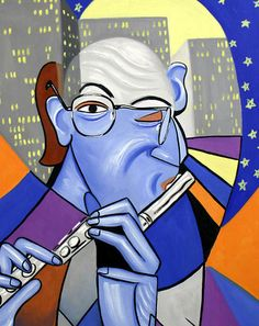 The Flutist Print Music Jazz City Cubism Moden Poster by falboart