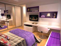 16 Furniture Ideas for A Super Cozy Bedroom www. - Great Home Decorations Cozy Bedroom, Dream Bedroom, Girls Bedroom, Bedrooms, Teen Bedroom Colors, Purple Bedroom Decor, Modern Bedroom, Appartement Design, Purple Home