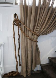 21 Nautical Rope Decor & Craft Ideas - Coastal Decor Ideas and Interior Design Inspiration Images Rope Curtain Tie Back, Rope Tie Backs, Curtain Tie Backs, Burlap Curtains, Hanging Curtains, Navy Curtains, Blackout Curtains, Window Curtains, Canvas Curtains