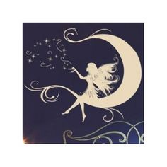 """Style and Apply Moon Fairy Wall Decal Size: 58"""" H x 46"""" W, Color: Dark Gray"""