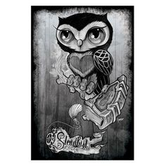 Owl by Gunnar Gaylord Tattoo Art Print Poster New School Steadfast Brand | eBay