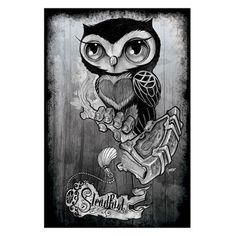 Owl by Gunnar Gaylord Tattoo Art Print Poster New School Steadfast Brand | eBay
