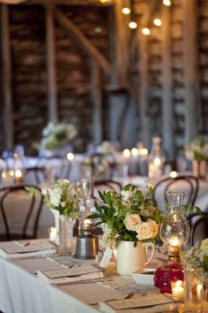 hurricane lamps and pitchers - what a great idea for a wedding reception or dinner party Oil Lamp Centerpiece, Oil Lamp Decor, Lantern Centerpiece Wedding, Wedding Lanterns, Wedding Reception Decorations, Wedding Centerpieces, Wedding Table, Quinceanera Centerpieces, Wedding Ideas