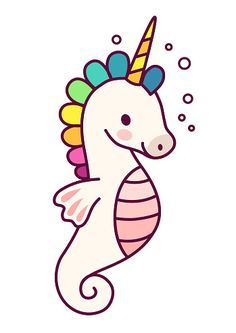Cute sea horse unicorn with purple mane simple cartoon vector illustration. Simple flat line doodle icon contemporary style design element isolated on white. Magical creatures, fantasy, fairy, dreams...