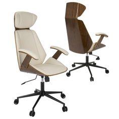 Spectre Mid-Century Modern Walnut Wood Office Chair