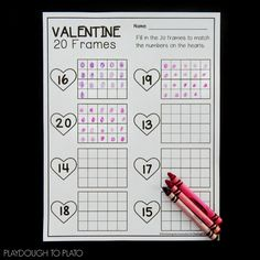 Valentine Twenty Frames - Playdough To Plato Preschool Math, Kindergarten Math, Preschool Worksheets, Elementary Education, Teaching Math, Teaching Ideas, Science Experiments Kids, Science For Kids, Word Games For Kids
