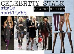 Fearne Cotton on the BLOG, Spotty Tights, quirky fashion, animal print tights, purple tights. All fashion tights available from www.essexylegs.co.uk from £1.99! Bargain!