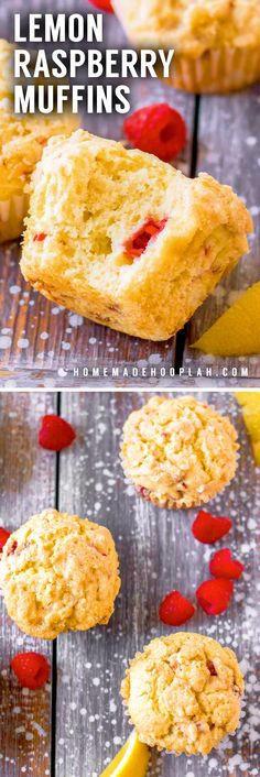 Lemon Raspberry Muffins! These bakery-style lemon raspberry muffins are soft, fluffy, and topped with a decadent crumbly lemon topping. Perfect for breakfast, brunch, or a quick snack. | HomemadeHooplah.com Best Breakfast Recipes, Sweet Breakfast, Brunch Recipes, Dessert Recipes, Pastries Recipes, Summer Recipes, Breakfast Ideas, Delicious Desserts, Lemon Recipes